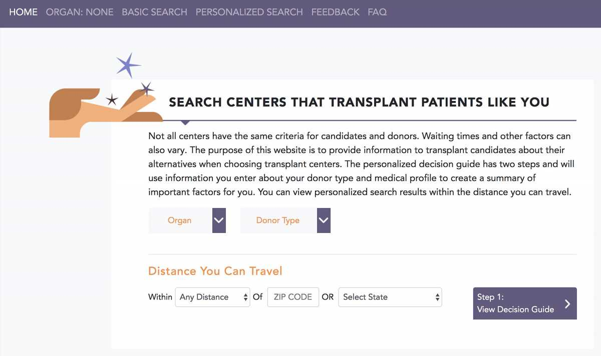 New tool aids patients in selecting a transplant center
