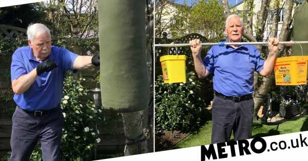 OAP makes a gym using paint pots and old tights to work out during lockdown