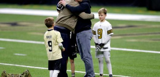 Tom Brady Throws Football to Drew Brees' Son in Sweet Post-Game Moment: 'Be Nice to Your Sister'